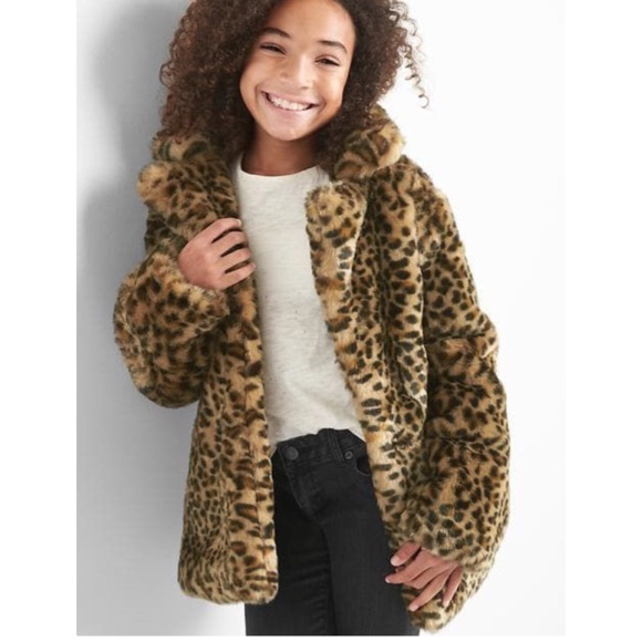 a2490d1c0e GAP Other - Gap Girls Leopard Print Plush Faux Fur Coat Large
